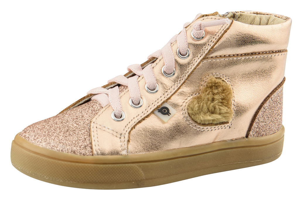 Old Soles Girl's Glam Heart High-Top, Rose Glam