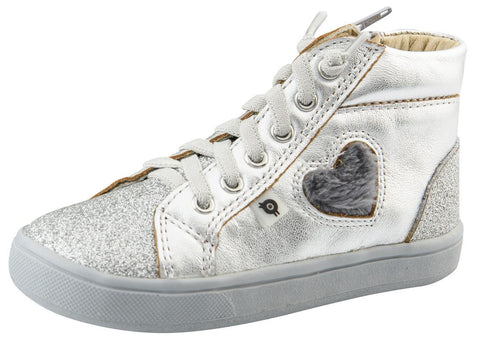 Old Soles Kid's Glam Heart High-Top, Silver/Dark Silver