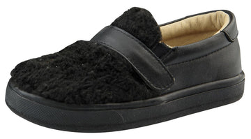 Old Soles Boy's and Girl's Fur Hoff Slip-On Sneaker Shoe, Black