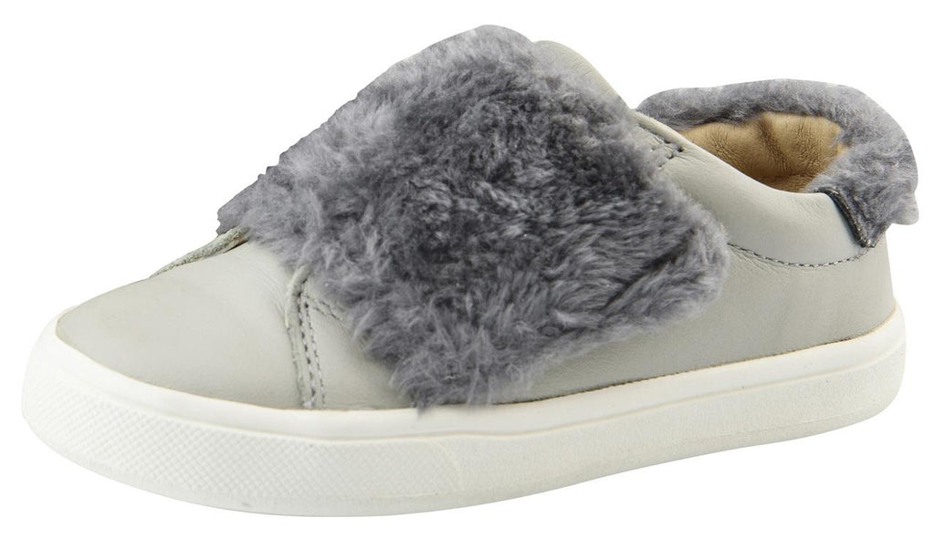 Old Soles Girl's and Boy's Fur Master Sneaker Slip-On Shoe, Gris/Dark Silver