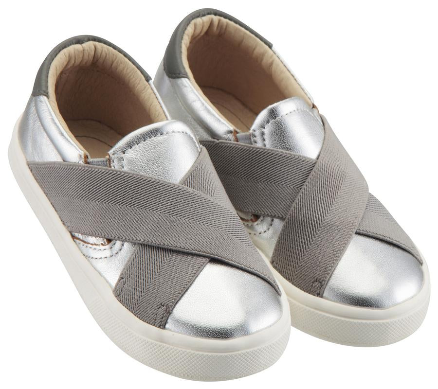 Old Soles Boy's and Girl's Stretch Hoff Slip-On Sneaker Double Band Shoe, Silver/Grey