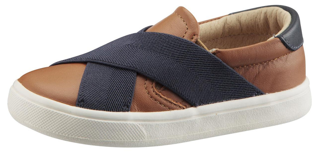 Old Soles Boy's and Girl's Stretch Hoff Sneaker Double Band Shoes, Tan/Navy