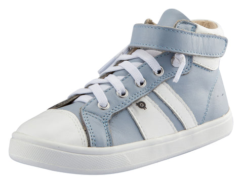 Old Soles Boy's and Girl's Urban Earth Leather Sneakers, Dusty Blue/Snow