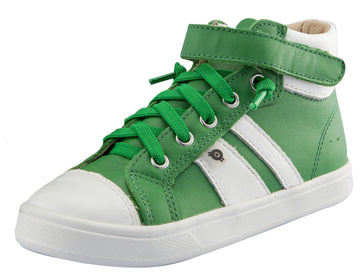 Old Soles Boy's and Girl's Urban Earth Leather Sneakers, Green / Snow