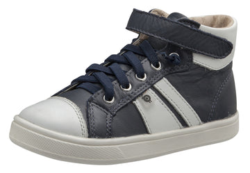 Old Soles Boy's and Girl's Urban Earth Leather Sneakers, Navy / Snow