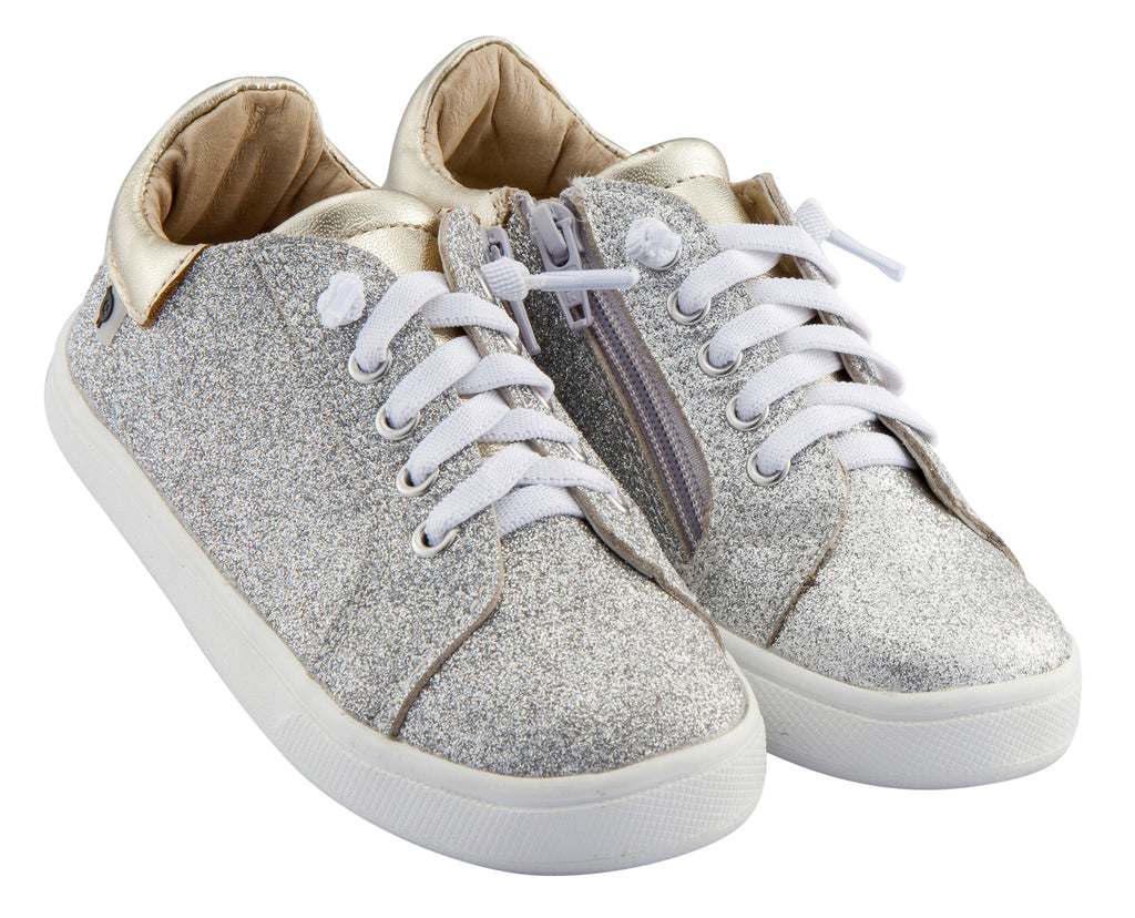 Old Soles Boy's and Girl's Glamfull Leather Sneakers, Glam Argent/Gold