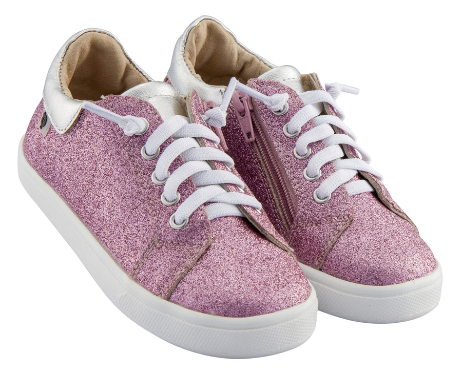 Old Soles Girl's Glamfull Leather Sneakers, Glam Pink