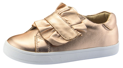 Old Soles Girl's Urban Frill Leather Sneakers, Copper