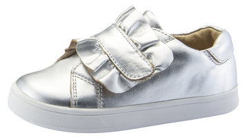 Old Soles Girl's Urban Frill Leather Sneakers, Silver