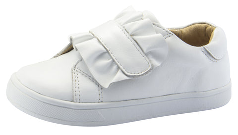 Old Soles Girl's Urban Frill Leather Sneakers, Snow/White