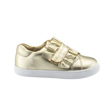 Old Soles Girl's Urban Frill Leather Sneakers, Gold
