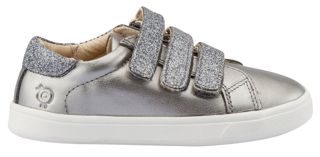 Old Soles Girl's Edgy Markert Sneakers, Rich Silver / Glam Gunmetal