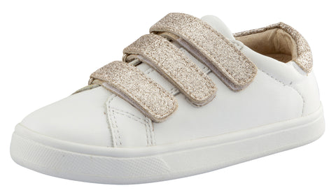 Old Soles Girl's Edgy Markert Leather Sneakers, Glam Cream