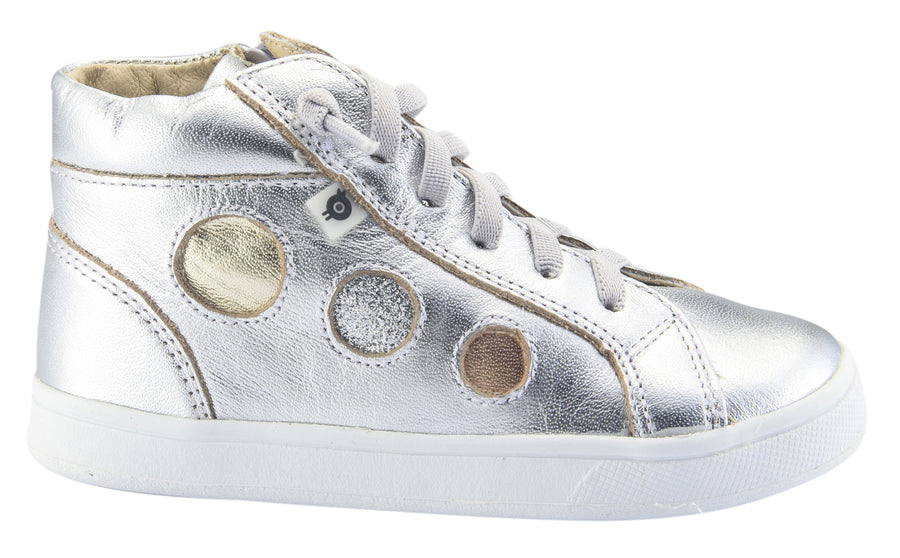 Old Soles Boy's and Girl's Round About High Top Leather Sneakers, Silver