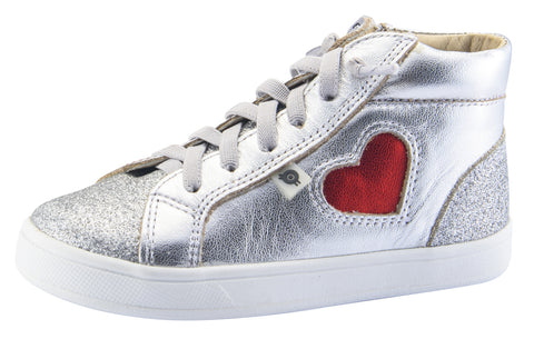 Old Soles Girl's Hearty High Top Leather Sneakers, Glam Argent