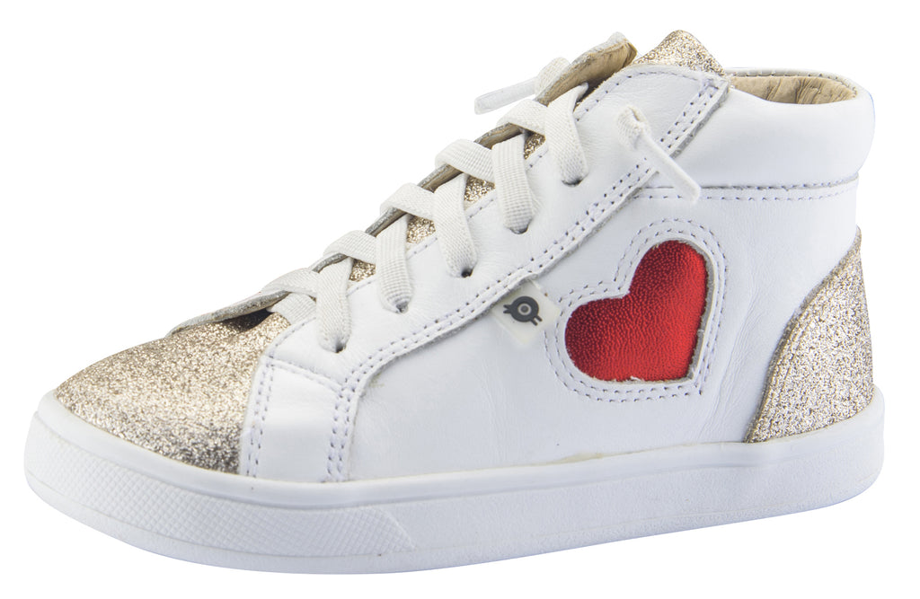 Old Soles Girl's Hearty High Top Leather Sneakers, Glam Cream