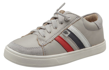 Old Soles Girl's Sneaky RB Leather Sneakers, Gris/Bright Red/Gris/Navy/Snow