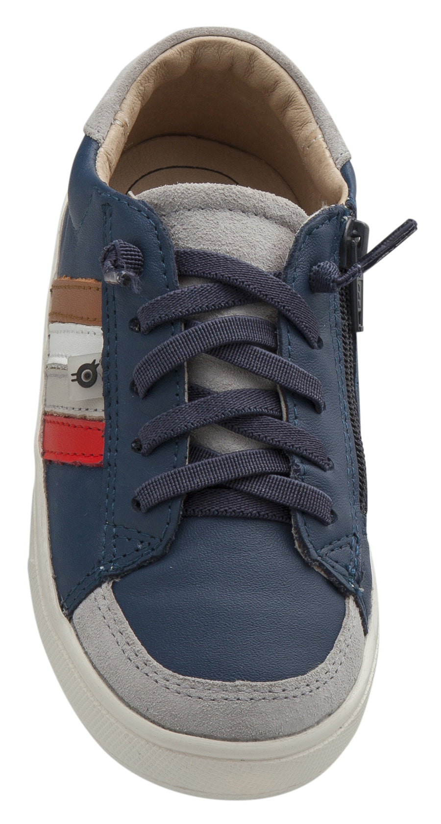 Old Soles Girl's Sneaky RB Leather Sneakers, Jeans/Bright Red/Gris/Snow/Tan