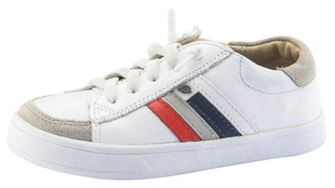 Old Soles Boy's Sneaky Sneakers, White/Red/Gris/Navy