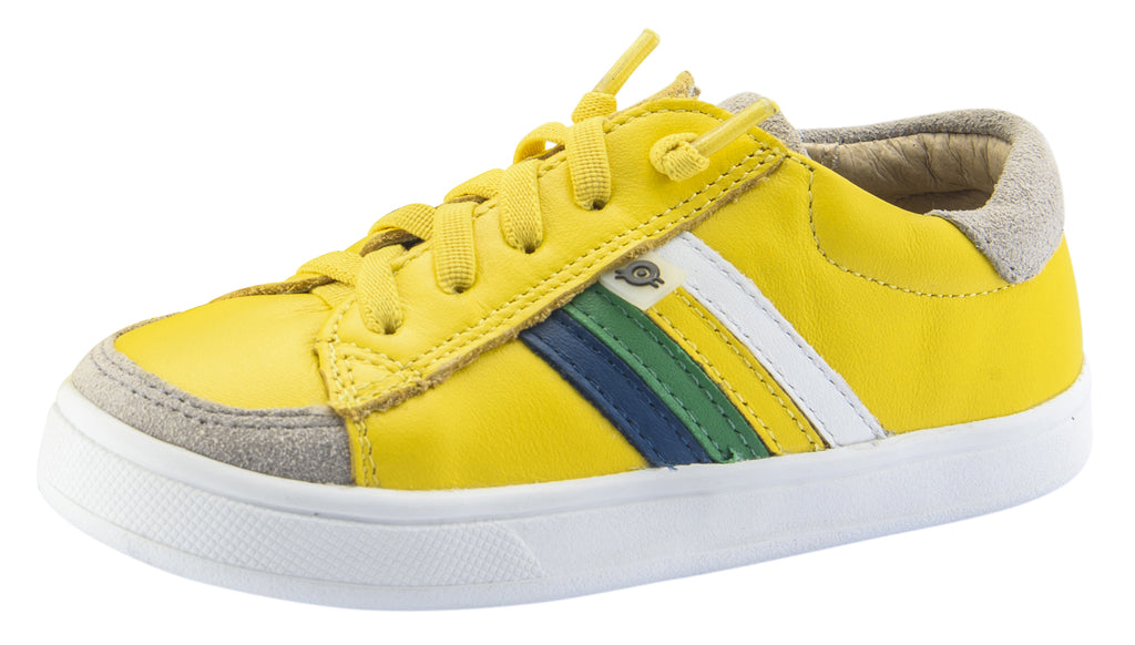 Old Soles Boy's and Girl's Sneaky RB Leather Sneakers, Sunflower/Jeans