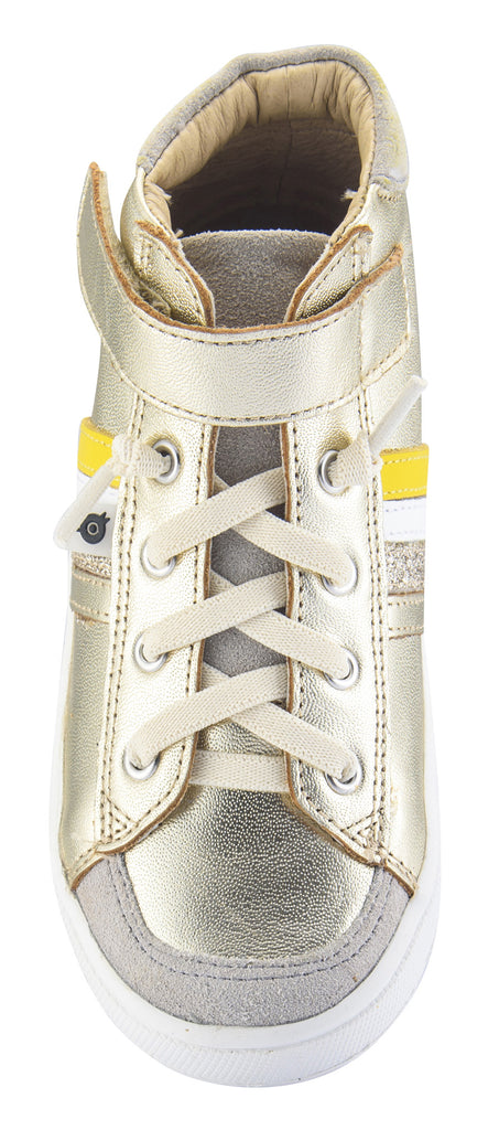 Old Soles Boy's and Girl's  High-Top-RB Leather Sneakers, Gold/Gold