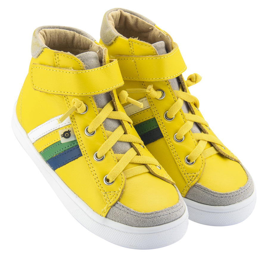 Old Soles Boy's and Girl's  High-Top-RB Leather Sneakers, Sunflower/Jeans