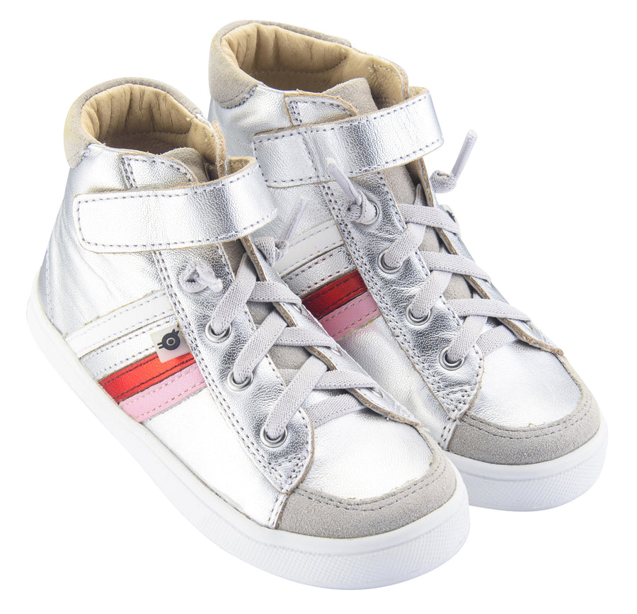 Old Soles Girl's  High-Top-RB Leather Sneakers, Silver/Pearlised Pink