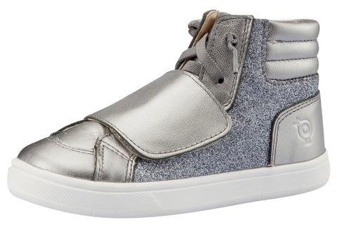 Old Soles Girl's O-Glam Sneakers, Glam Gunmetal / Rich Silver
