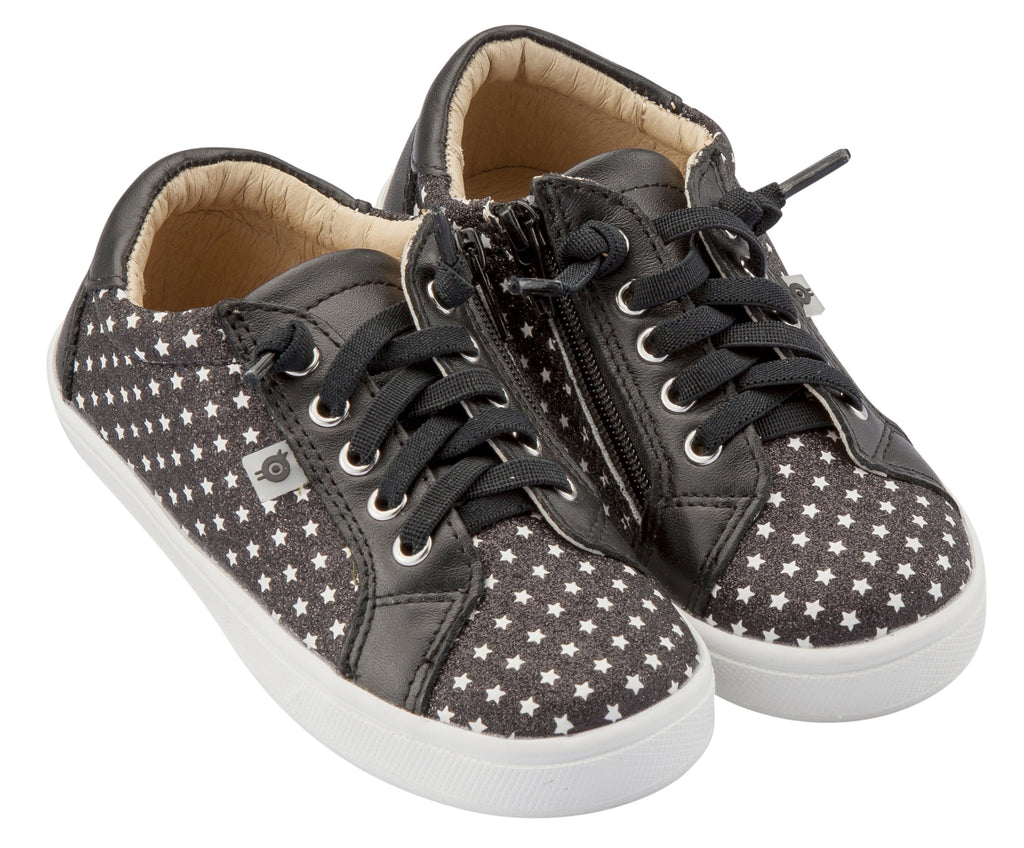 Old Soles Girl's & Boy's Star Jogger Sneakers, Star Glam Black
