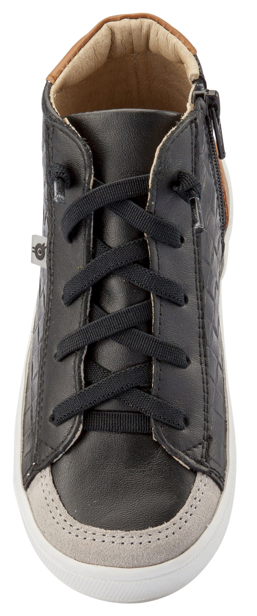 Old Soles Girl's and Boy's Penthouse Sneakers, Black Weave / Tan
