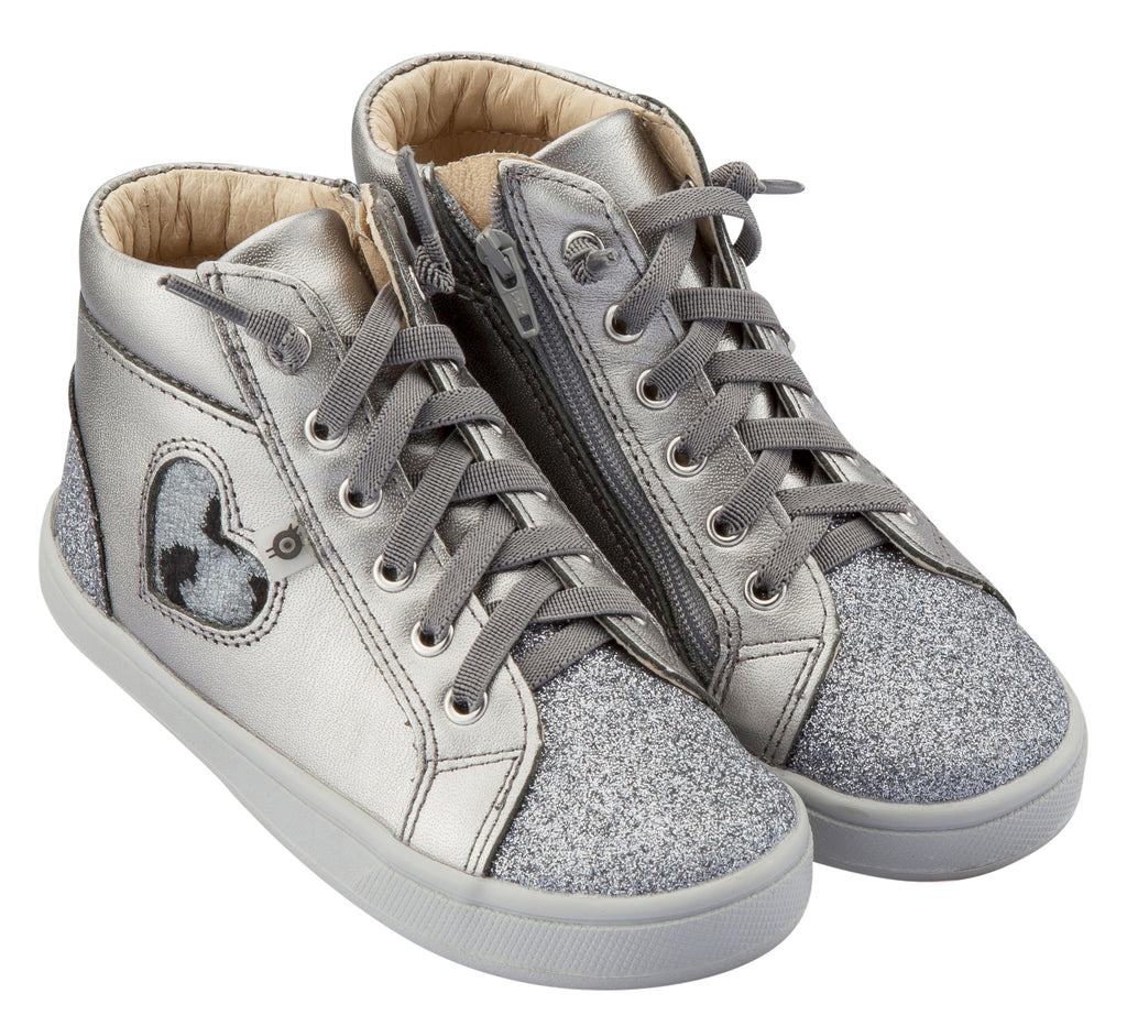 Old Soles Girl's Hearty Cat Sneakers, Rich Silver / Glam Gunmetal / Cat-Silver