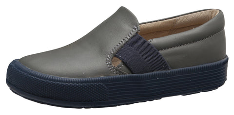 Old Soles Boy's and Girl's 6084N OG Hoff Slip On Elastic Loafer Sneaker, Grey/Navy