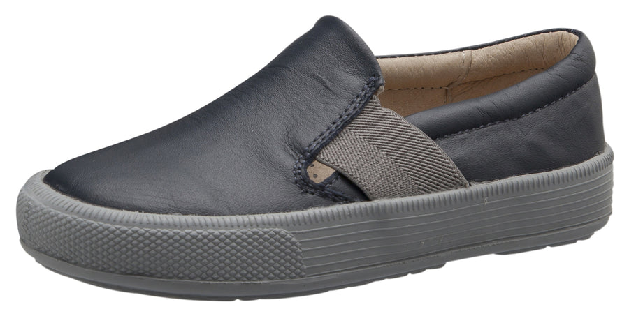 Old Soles Boy's and Girl's 6084N Perforated Leather OG Hoff Slip On Elastic Loafer Sneaker, Navy/Grey