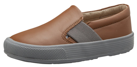 Old Soles Boy's and Girl's 6084N OG Hoff Slip On Elastic Loafer Sneaker, Tan/Grey
