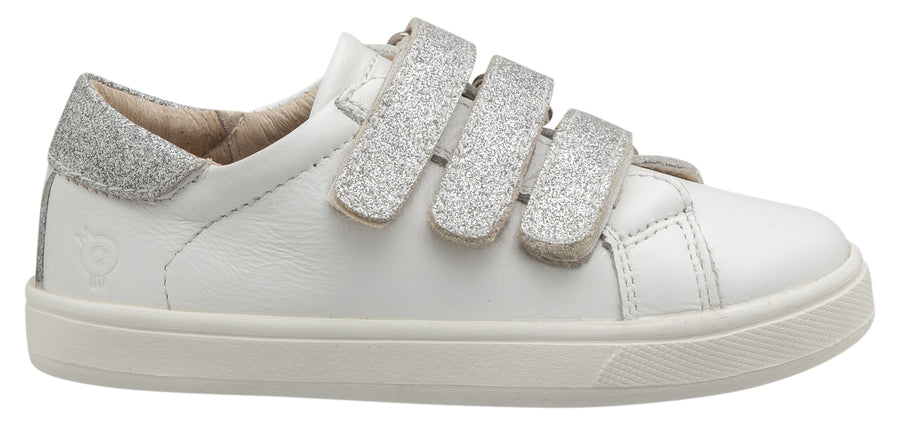 Old Soles Girl's Glam Markert Sneakers, Snow / Glam Argent