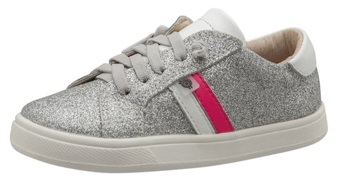 Old Soles Girl's Glambo High Top Leather Sneakers, Glam Argent/Snow/Neon Pink/Silver