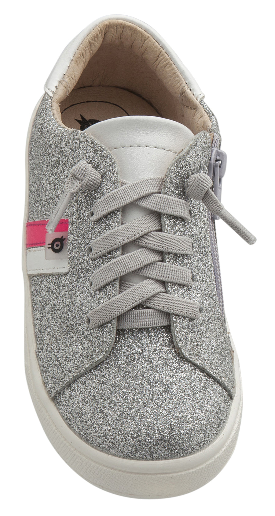 Old Soles Girl's Glambo Leather Sneakers, Glam Argent/Snow/Neon Pink/Silver