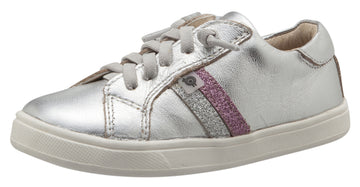 Old Soles Girl's Glambo Leather Sneakers, Silver/Glam Argent/Glam Pink