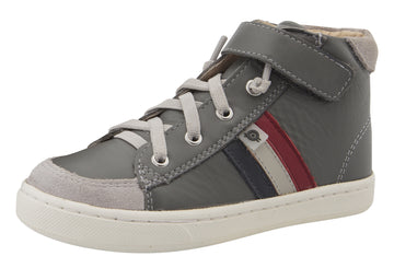Old Soles Boy's & Girl's  Glambo High Top Leather Sneakers - Grey/Navy/Gris/Red