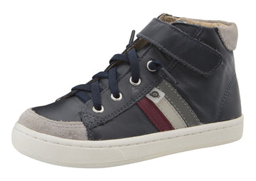 Old Soles Boy's & Girl's  Glambo High Top Leather Sneakers - Navy/Burgundy/Gris/Grey