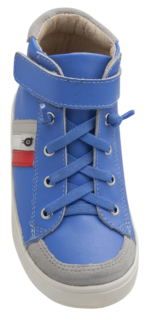 Old Soles Boy's and Girl's  Glambo High Top Leather Sneakers, Neon Blue/Bright Red/Snow/Gris