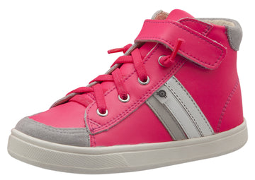 Old Soles Girl's Glambo High Top Leather Sneakers, Neon Pink/Gris/Snow/Silver