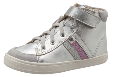 Old Soles Girl's  Glambo High Top Leather Sneakers,Silver/Glam Argent/Glam Pink/Silver