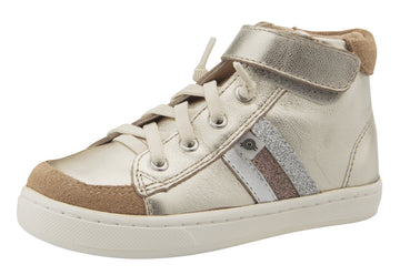 Old Soles Boy's & Girl's  Glambo High Top Leather Sneakers - Titanium/Silver/Glam Choc/Glam Argent