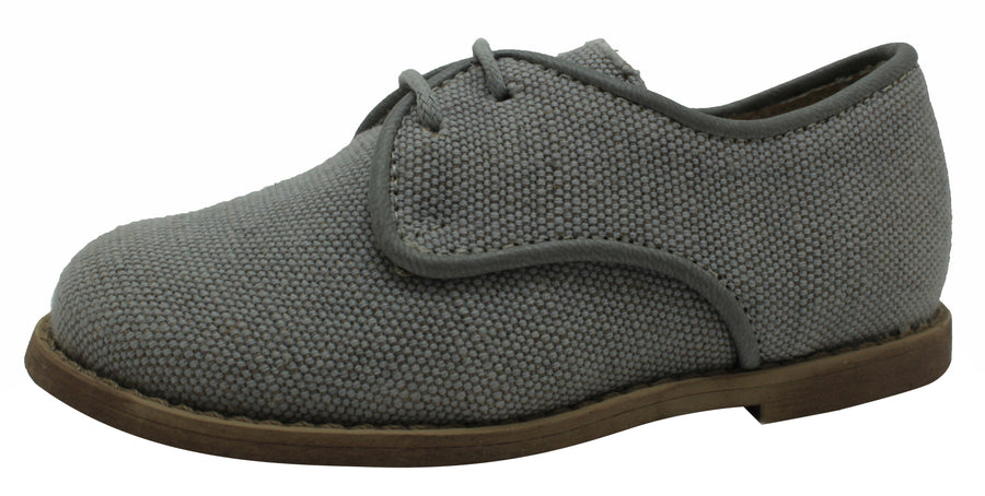Oca-Loca Boy's Oxford Grey Linen Textile Dress Shoe