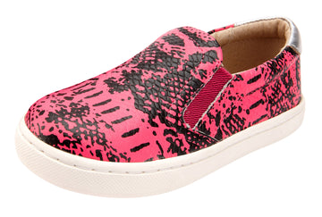 Old Soles Boy's and Girl's 6097 Hoff Style Leather Slip On Sneaker Shoe - Neon Pink Snake/Silver