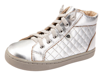 Old Soles Girl's and Boy's 6115 Plush High Top Sneakers - Silver