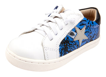 Old Soles Girl's and Boy's Milky Way Sneaker Shoe - Neon Blue Snake/Black/Snow/Gris