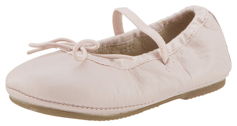 Old Soles Girl's 613 Bambini Cruise Powder Pink Leather Elastic Trim Upper Bow Tie Mary Jane Ballet Flat Shoe