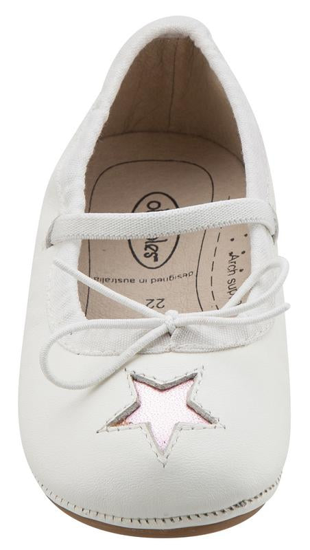 Old Soles Girl's Leather Cruise Star Mary Jane (Snow/Pink Star)